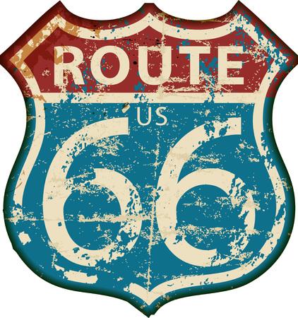 ビンテージ ルート 66 道路標識、レトロなグランジ ベクトル図