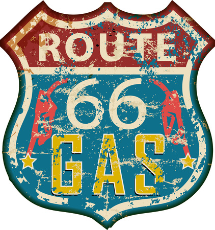 A vintage route 66 gas station sign,retro grungy vector illustration. Illustration