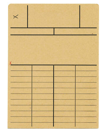 knocked out: old file card, design template,free copy space Stock Photo