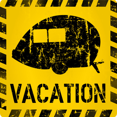 vacation sign with nostalgic trailer, vector illustration