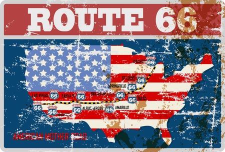 汚れたルート 66 道路地図記号、汚れたレトロ ベクトル イラスト