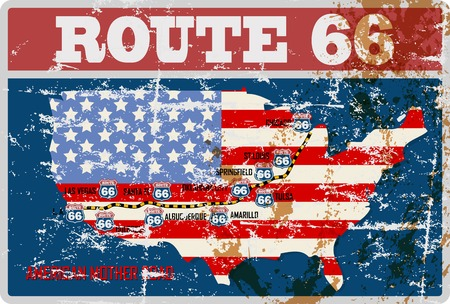 grungy route 66 wegenkaartteken, retro grungy vectorillustratie