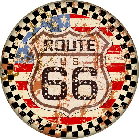 vintage route 66  sign,retro grungy vector illustration
