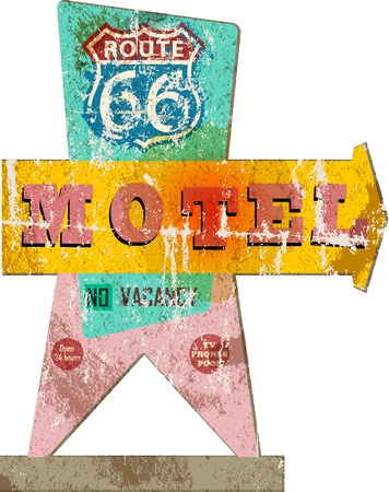 retro route sixty six Motel sign,vacation, vector,fictional artwork