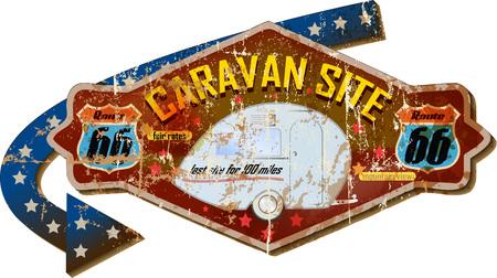 grungy route 66 caravan site sign, vintage style, vector illustration