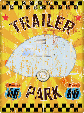Retro route 66 trailer park sign, grungy style, vector illustration