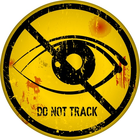 fictional: Internet security, do not track sign, vector grunge style, fictional artwork