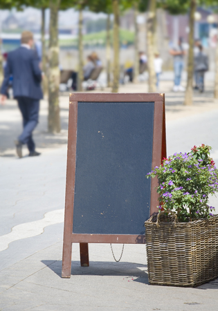 selected: empty billboard, sandwich board in a cafe, free copy space