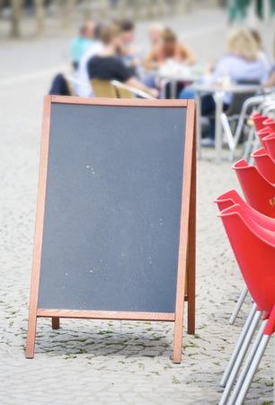 sandwich board: empty billboard, sandwich board in a cafe, free copy space