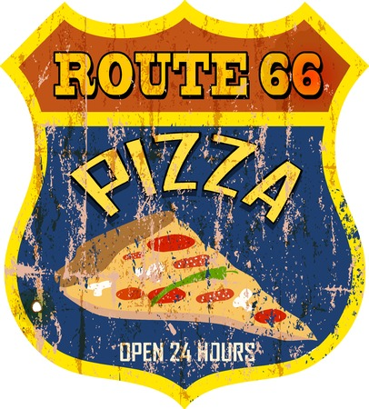 grungy, nostalgic route  pizza diner sign, vector illustration