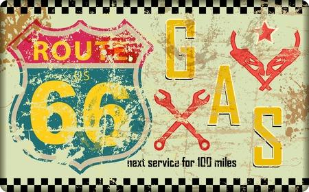 ビンテージ ルート 66 ガソリン スタンド サイン、レトロなグランジ ベクトル図  イラスト・ベクター素材