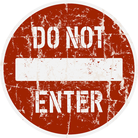 grungy one way sign, do not enter warning sign,vector illustration