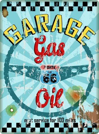 auto repair: Vintage route 66 garage workshop sign, vector