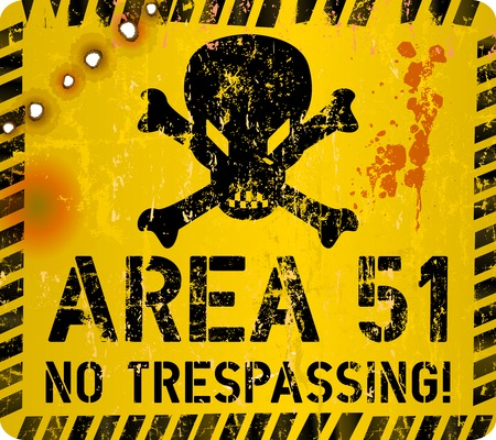 Area 51 sign. Web icon, restricted website area sign Grungy vector illustration