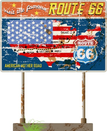 grungy route 66 road signage,retro grungy vector illustration Illustration