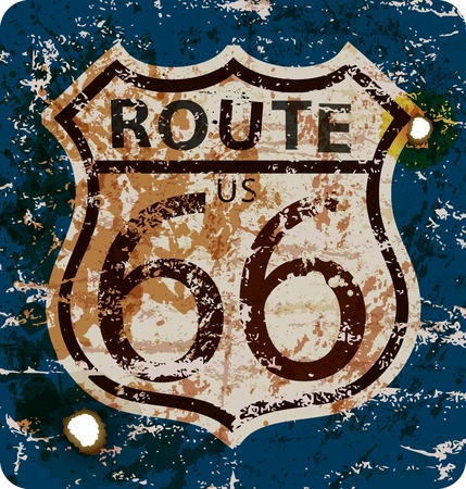 vintage route 66 road sign,retro grungy vector illustration Illustration
