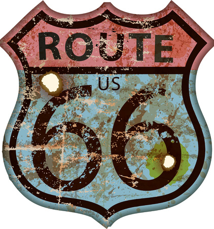 Vintage route 66 road sign in retro grungy illustration