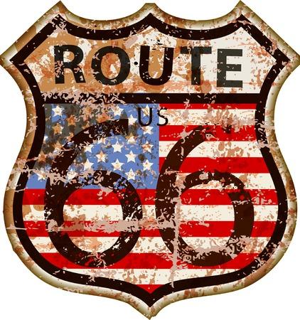 Vintage route 66 road sign, illustrazione vettoriale grungy retrò Archivio Fotografico - 85052498