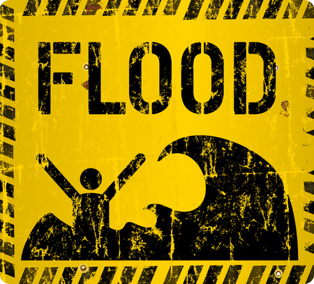 gale: Flood warning sign,  vector illustration