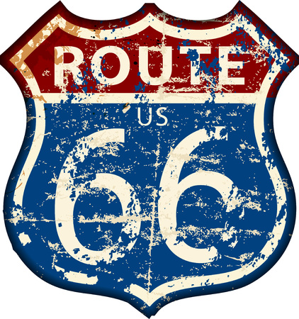 Vintage route 66 road sign, retro grungy vector illustration