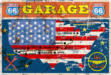 grungy route 66 garage sign ,retro grungy vector illustration Çizim