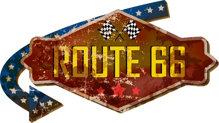 Vintage route 66 road sign,guidepost,retro grungy vector illustration