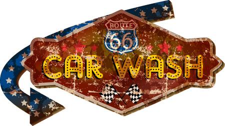 Vintage route 66 car wash sign illustration.