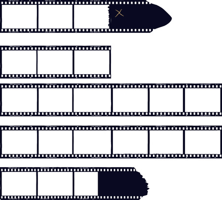 set of film stripes, photo frames, free copy space,vector  イラスト・ベクター素材