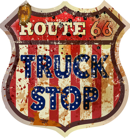 Vintage and grungy route sixty six truck stop sign