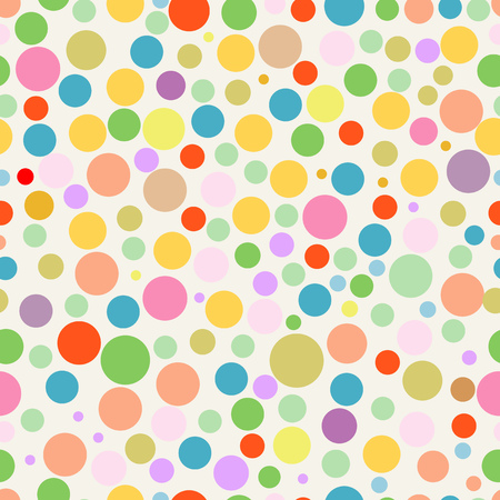 seamless multi colored polka dots background, vector Illustration