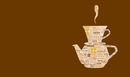 cappucino: coffee design template, word cloud, coffee menu, free copy space, vector