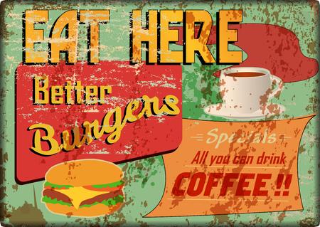 grungy diner teken, retro stijl, vectorillustratie