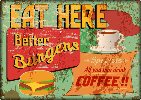 grungy diner sign, retro style, vector illustration Illustration