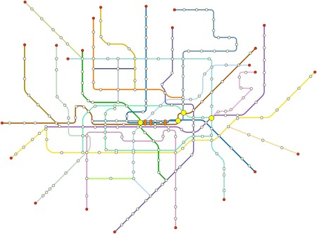 Fictional subway map, public transportation, map, free copy space 向量圖像