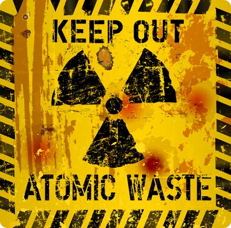 Rotten atomic waste warning sign, vector illustration Illustration