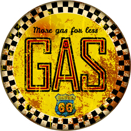 Vintage rusty gas station sign in retro style vector illustration Ilustracja