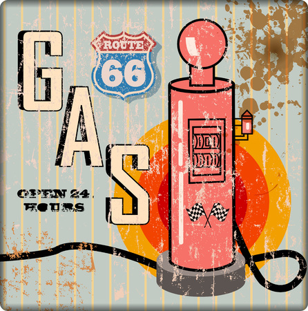 retro grungy route sixty six gas station sign, vector illiustration, fictional artwork