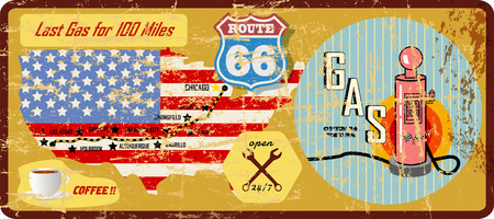 Grungy route 66 benzinestationteken en wegenkaart.