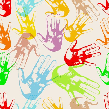 Hands in colorful repetitive, borderless illustration.
