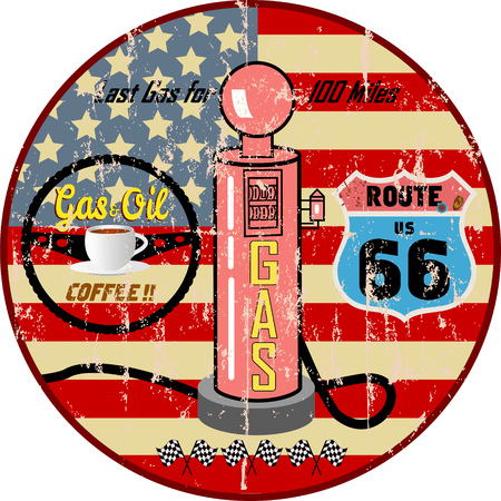 Retro grungy route 66 gas station sign, vector illustration, fictional artwork Ilustracja