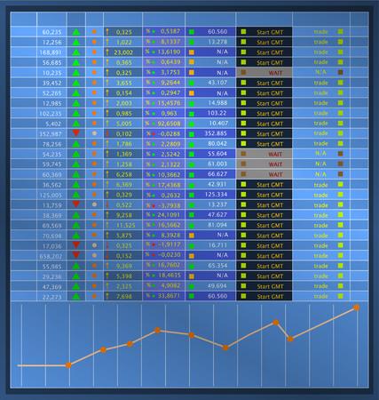 Information display showing stock exchange quotations, vector, fictional artwork Stock Illustratie