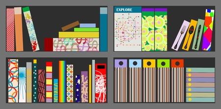 Books on a shelf: reading, learning,education. Vector illustration  イラスト・ベクター素材
