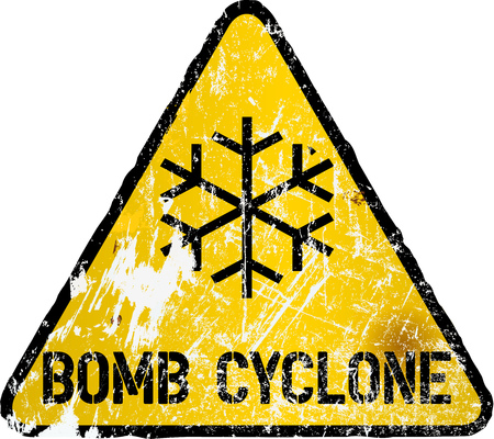bomb cyclone or blizzard road sign, warning sign, vector illustration