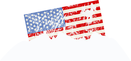American flag snow covered, sunken in a snow bank vector illustration.
