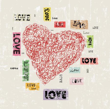 heart and love illustration, grunge style, vector. Illustration