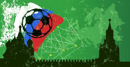Soccer design template championship russia 2018,free copy space, vector Ilustração
