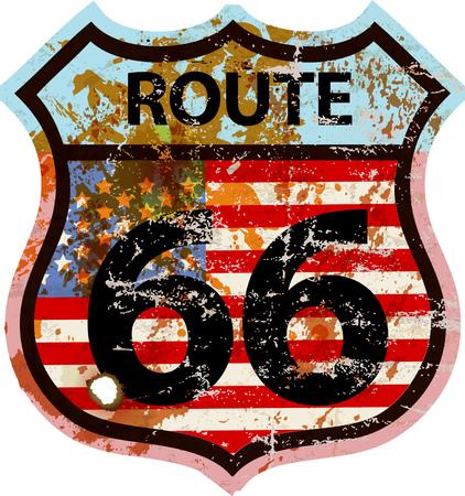 Grunge Route 66 Straßenschild, fiktive Kunstwerke andere Schriftart und Farben als offizielle Straßenschild Vektorgrafik