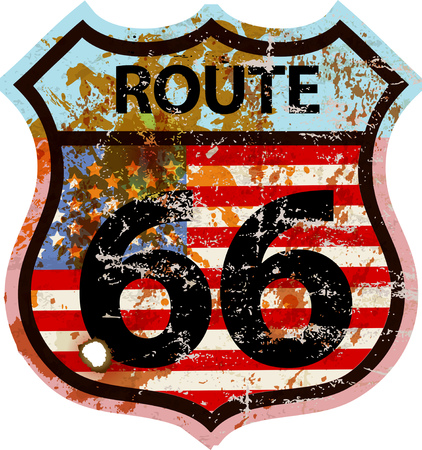 grungy route 66 road sign, fictional artwork different font face and colors than official road sign
