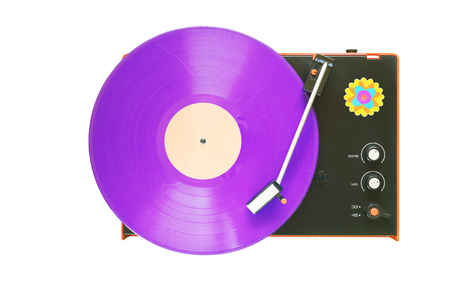 Retro turntable with purple vinyl record, isolated on white background. The precise rendering of the black plastic surface is no picture noise. Stock Photo