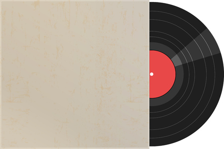 Vinyl Record with grungy cover, free copy space, vector illustration